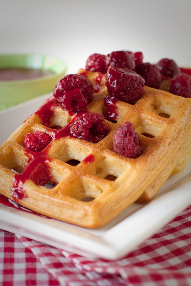 Classic Waffles with Raspberry Sauce