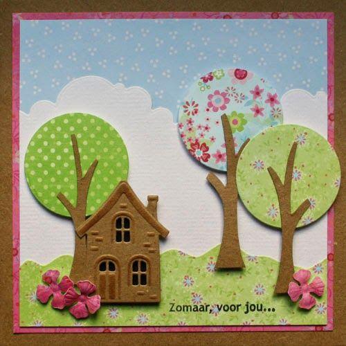Kaart met een huisje maken bij Marjolein Zweed Creatief tijdens de aanschuifworkshop van 27 en 28 juni 2014. In het blogbericht kun je lezen welke materialen er gebruikt zijn. In het blogbericht staat een link naar het patroon van de boomstam.