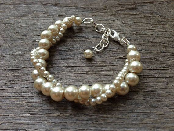 Champagne Pearl Bracelet Twisted Clusters on Silver or Gold Chain - Wedding, Bridal, Prom, Birthday Gift