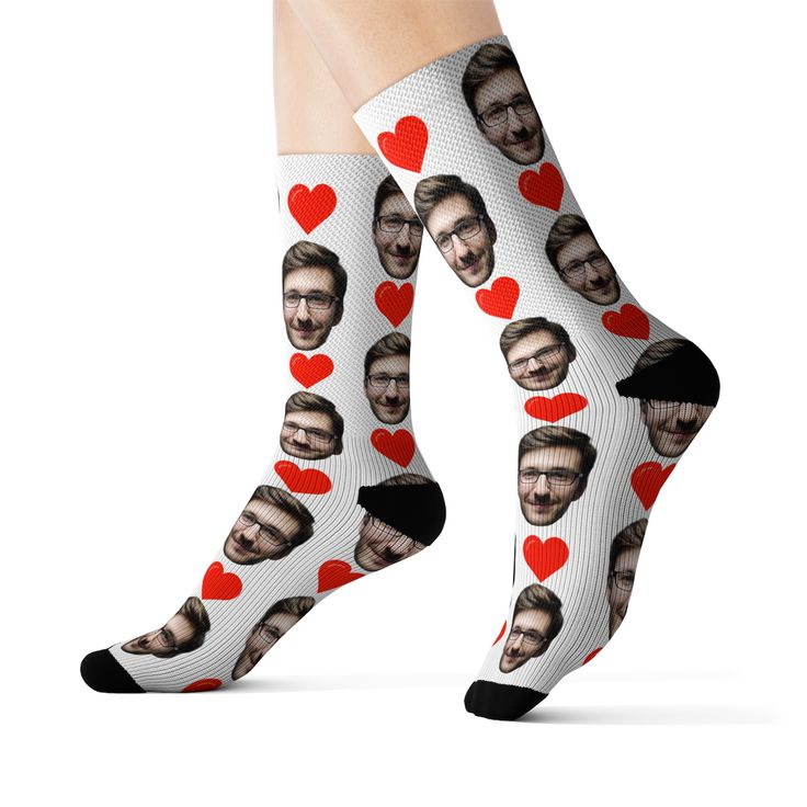 Custom Face Socks – Put Any Face On Personalized Photo Socks! Faces On Socks with Red Hearts! Gift for Him, Boyfriend Birthday, Dad Gift