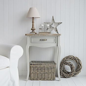 Grey hallway furniture for country cottage interior designed homes. The Bridgeport small console table with a drawer
