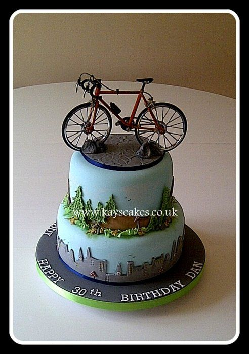 30th Birthday Two Tier Cake for Cycling Enthusiast - by kayscakes @ CakesDecor.com - cake decorating website