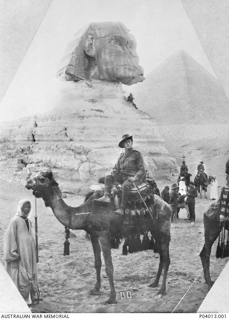 Private John Sidney Diamond, 6th Battalion, sitting on a camel in front of the Sphinx at Giza. He enlisted with 6th Battalion AIF on 17 August 1914. He was awarded a Distinguished Conduct Medal for displaying 'great courage' during the landing on the Gallipoli Peninsula on 25-26 April 1915, in which he assisted in the halt of a retirement and led his unit forward under heavy fire. After the Gallipoli campaign, Diamond was commissioned and subsequently served on the Western Front.