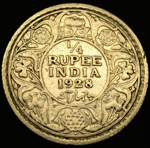 1928 British Colonial India Silver 1 4 Rupee RARE George V Coin in Great Shape | eBay