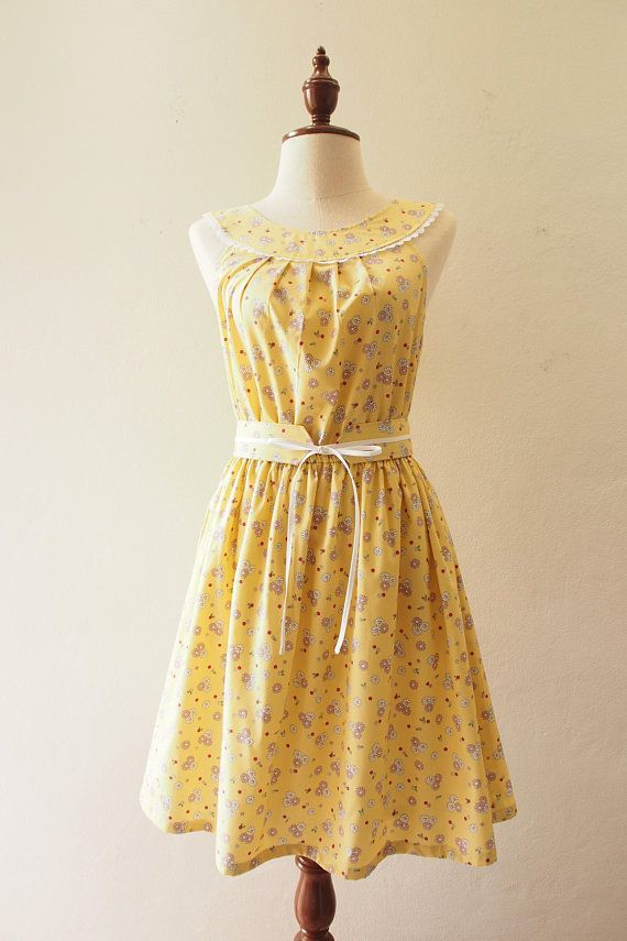 Tea Party Yellow Floral Dress Summer Dress Vintage Modern Cozy Style Clothing Swing Dance Dress Ret Vintage Summer Dresses Summer Dresses Floral Dress Summer