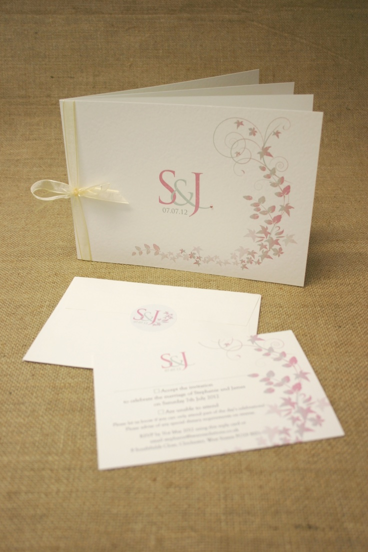 Stef's Bespoke Design Wedding Stationery from The Wedding Print Shop. Designed using bride and groom's specification (pink/grey/cream colour pallete, ivy, elegant swirls, monogram and date logo and a tiny swan incorporated into the design). Printed on recycled textured ivory card using biodegradable toner. Supplied matching peal and seal envelopes with monogram logo stickers. Supplied printed address labels - saves you from writing on hundreds of envelopes! www.theweddingprintshop.co.uk