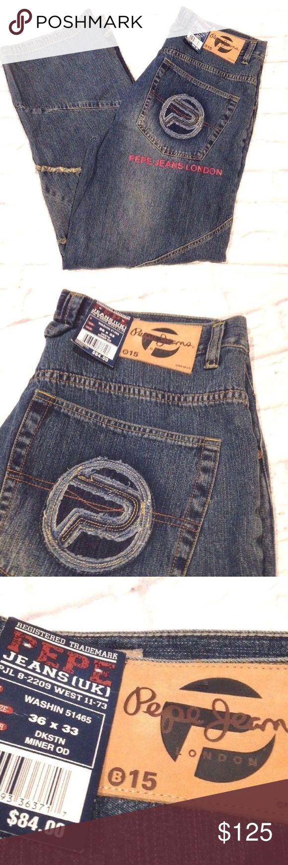 VTG 90'S PEPE JEANS LONDON BAGGY JEANS HIP HOP RAP NEW WITH TAGS  VINTAGE 90'S PEPE JEANS LONDON BAGGY JEANS  SIZE ON TAG IS 36 X 33 WAIST =18'' INSEAM = 32'' LENGTH = 45'' Pepe Jeans Jeans Relaxed