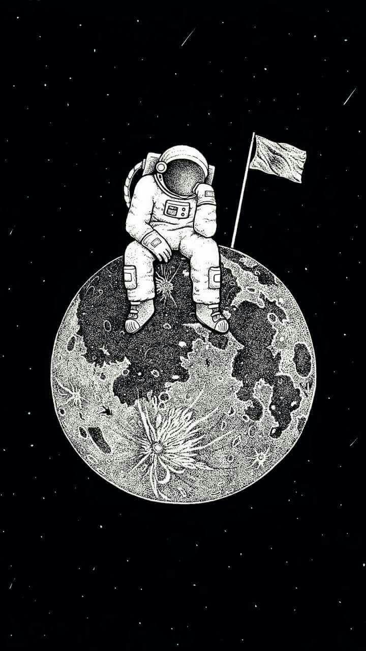 человек на луне рисунок продуктивность
