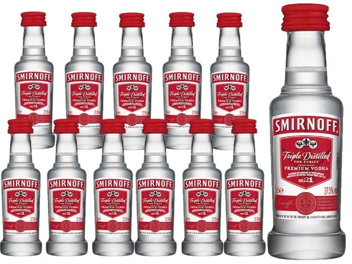 Mini botellas de #vodka Smirnoff Red 37,5º