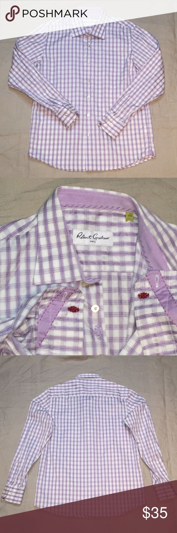 Boy's Robert Graham plaid button down dress shirt Boy's Robert Graham dress shirt in white, lilac, and blue plaid. Embroidered logo on button placket and inside each cuff. New condition. Size 10/12. Robert Graham Shirts & Tops Button Down Shirts