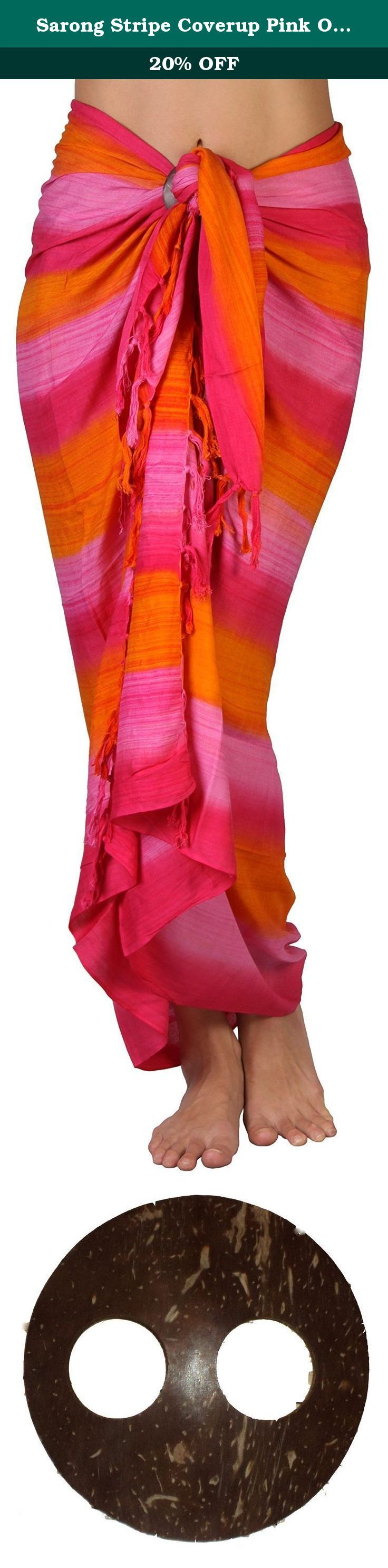 """Sarong Stripe Coverup Pink Orange. This striped sarong is a dream to wear feeling light and sensual on the skin. With soft colors and slightly transparent, it is perfect for beach and pool. Made of 100% rayon, it can be used as a coverup, beach blanket, shawl, dress, or skirt. Length can be adjusted by simply folding the width down. Includes a coconut clip for easy tying; Simply put an edge of the fabric in the two holes and pull through for a snug fit. Machine Wash. 65""""L by 45""""W. Back…"""