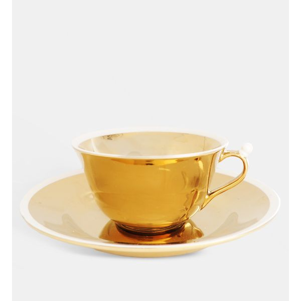 & Klevering Anouk Gold Cup & Saucer Set: Reclaim the art of afternoon tea, with a twist of modern day style. These gorgeous cup and saucer sets, covered in gold, will definitely elevate the regular ol' cup of cha!Set of 2 cups and saucers.