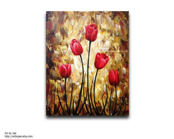 Modern Painting Red Tulips Modern Realistic Painting by artbyjae