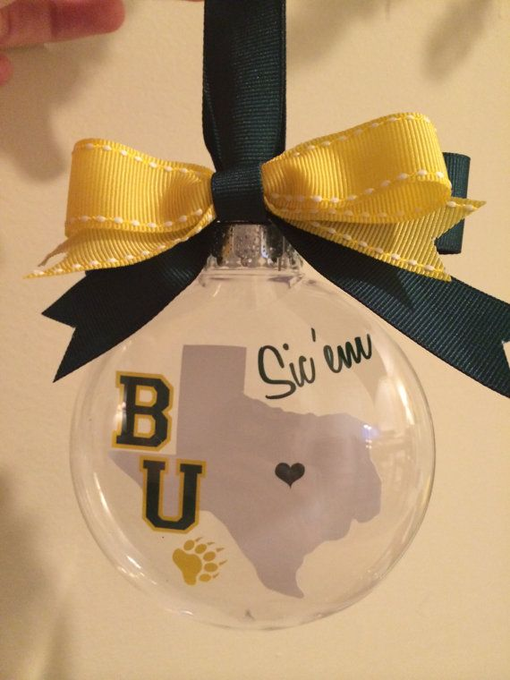Baylor Sic 'Em Texas outline ornament by SouthernStencil on Etsy