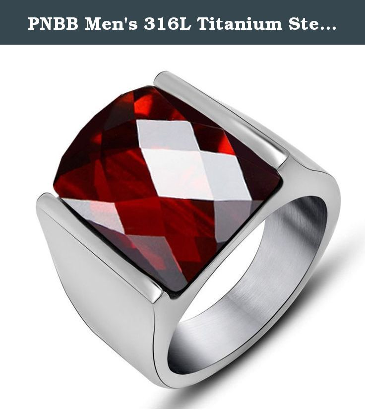 PNBB Men's 316L Titanium Steel Red Natural Garnet Natal Ring Size 10. Titanium steel jewelry does not tarnish and oxidize, which can last longer than other jewelries. Such as silver and gold. It is able to endure a lot of wear and tear. And it is amazingly hypoallergenic. Such advantages make it a more popular accessory.