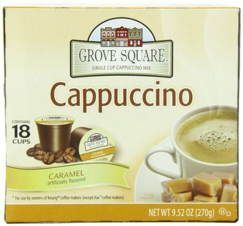 Grove Square Cappuccino, Caramel, 18-Count Single Serve Cup for Keurig K-Cup Brewers (Pack of 3) Grove Square Cappuccino http://www.amazon.com/dp/B005K4Q33Y/ref=cm_sw_r_pi_dp_0EiPtb0C55CCZ7SV