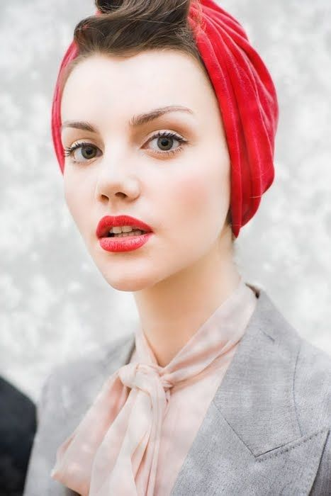 """red stained lips + turban... i don't know how I feel about this one. I love the LOOK, but could you really pull off a turban without it looking """"costume-y""""?"""