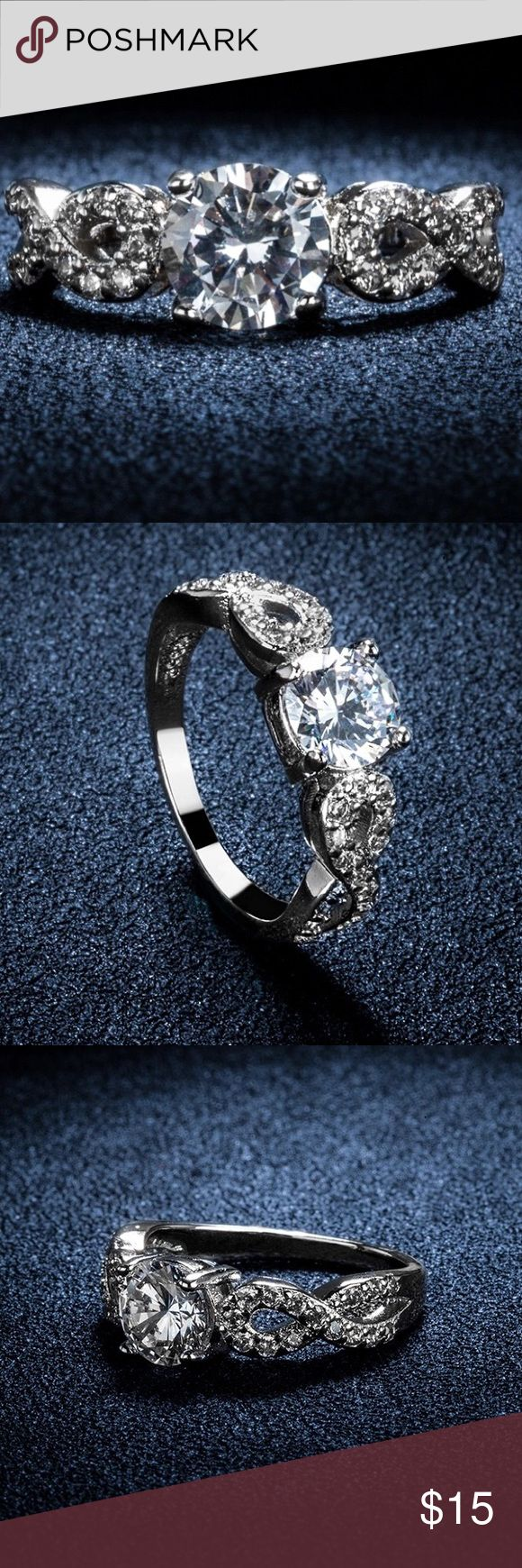 Stylish ring size 8! Big heartstone 3 Carat AAA cz diamond jewelry engagement wedding rings For women white gold plated! Occasion:Daily Wear,Wedding,Party,Engagement •30% silver • with a small box  Price is firm! Happy shopping y'all! Jewelry Rings