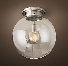 Parisian Architectural Poste Clear Glass Aged Steel RH Lighting Select