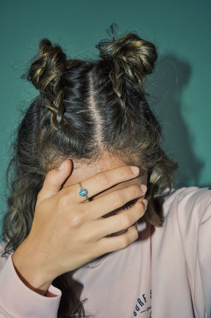 French Braid Pigtails Into Little Buns French Braid