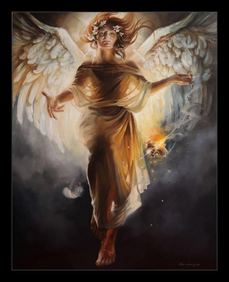 """""""GUARDIAN ANGEL"""" oil on canvas 110x90cm, 2017 aut: Katarzyna Waszewska"""