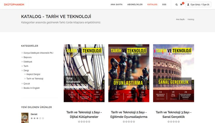 Tarih ve Teknoloji Dergisi, E-Kütüphanem veri tabanında! Artık E-Kütüphanem üzerinden de dergimize ulaşabilirsiniz.  Dergimizi okumak için: https://www.ekutuphanem.com/kategori/dergi-tarih-ve-teknoloji/1?isSubCategory=True&selectedCatId=25216