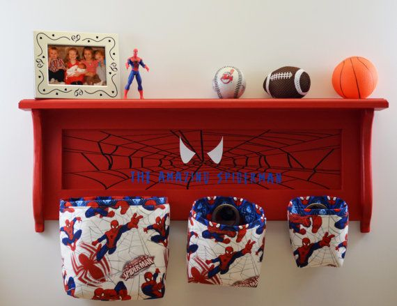 Spiderman Wall Shelf Organizer with Fabric Hanging Baskets  Super Heroes Marvel Comic Childs Room Storage