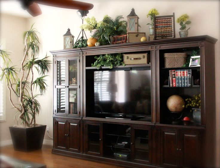 top of large entertainment center  Studious-look. Old books. Garden-ridge sells faux books that double as storage centers