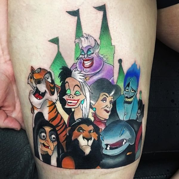 The piece of Disney characters on the thigh tattoo