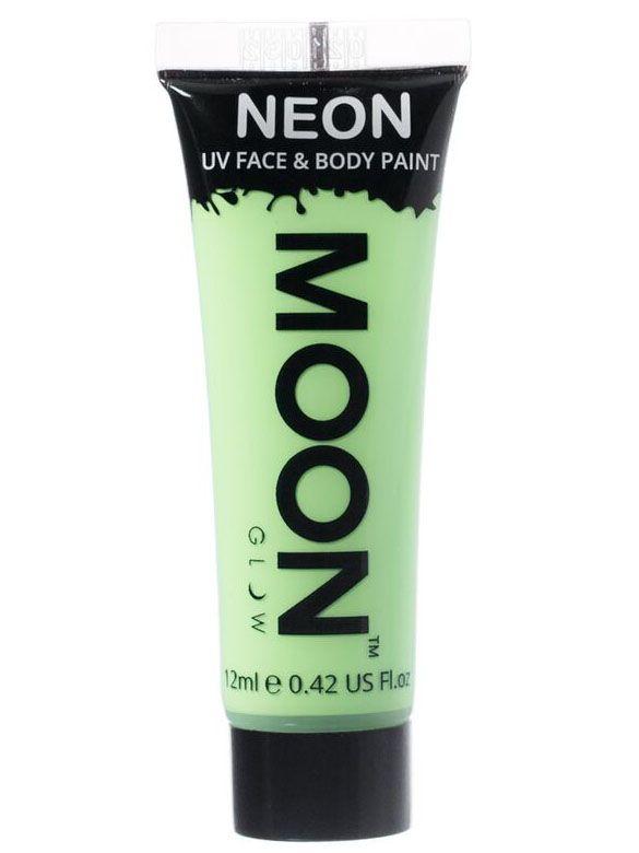 Gel rostro y cuerpo verde pastel UV Moonglow™ 12 ml: Este tubo degelpara cara y cuerpo es de la marcaMoonglow™.Mide 7,5 cm de largo y contiene 12 ml de crema verde pastel que brilla en la oscuridad ultravioleta.Puedes...