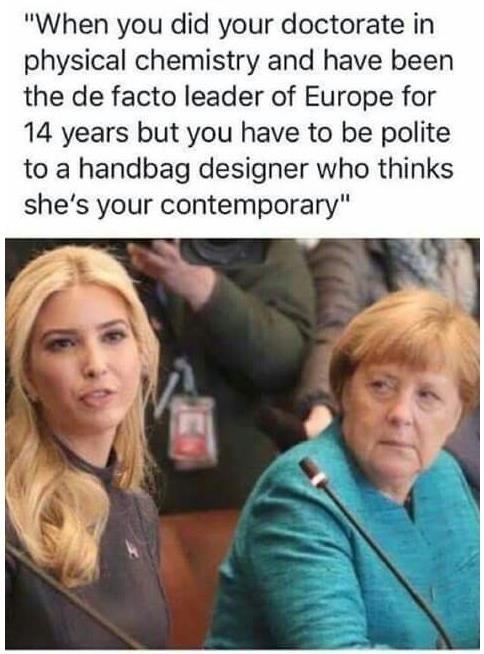 Love the look Merkel is giving her. lOL.