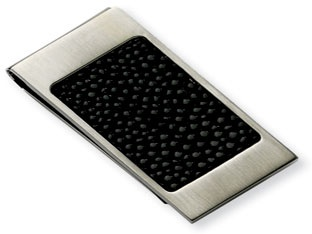 Men's Stainless Steel Black Stingray Money Clip Holder Available Exclusively at Gemologica.com