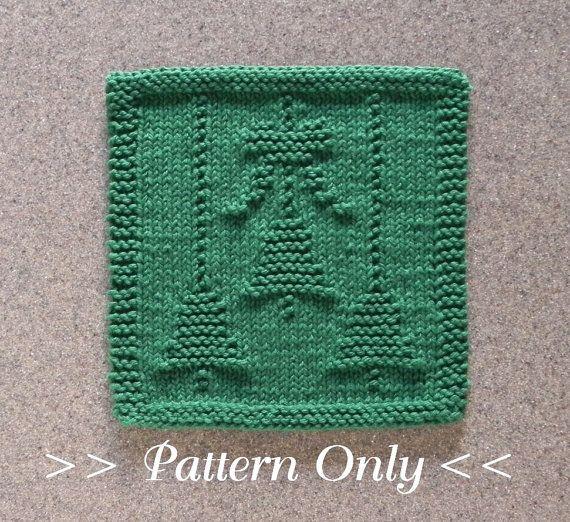 CHRISTMAS Bells & Bow Knit Dishcloth Pattern  by AuntSusansCloset