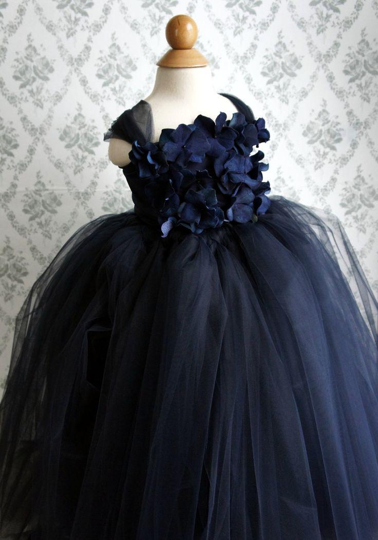 Flower girl dress Navy Blue tutu dress, flower top, baby tutu dress, toddler tutu dress. $70.00, via Etsy.
