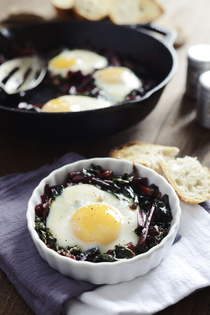 Eggs Baked on a Bed of Garlicky Braised Beet Greens