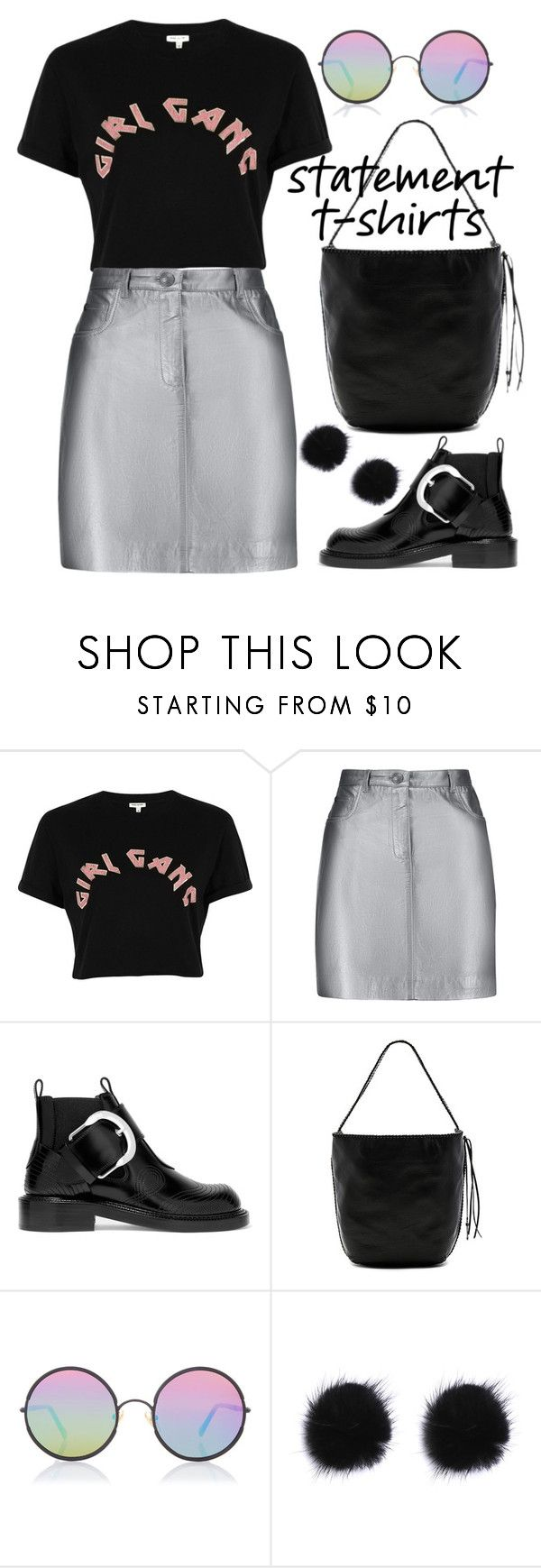 """""""Say What: Statement T-Shirts"""" by joslynaurora ❤ liked on Polyvore featuring River Island, Pierre Balmain, Maison Margiela, Mackage, Sunday Somewhere, skirt, Boots, shirt, Tshirt and statementtshirt"""