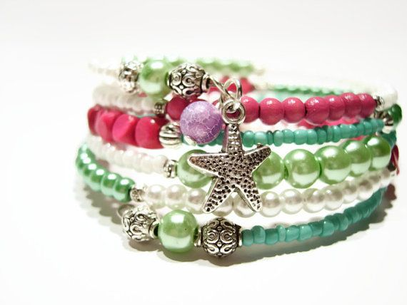 Pastel colors beaded star charm hipster bracelet by AellaJewelry, $19.90 #bracelet #hipster #pastel