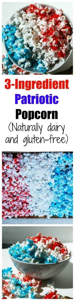 3 Ingredient Patriotic Popcorn (Gluten, dairy, egg, soy, peanut & tree nut free; top 8 free) Recipe by AllergyAwesomeness.com  |gluten free popcorn| |dairy free popcorn| |candied popcorn| |4th of july recipes| |allergy-friendly| |4th of July popcorn recipes| |no bake 4th of July recipes| |4th of July snacks| |4th of July treats| |dairy-free popcorn|