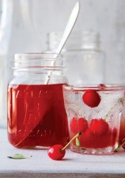 Sour Cherry Lemonade Concentrate Recipe - THIS SYRUP IS A BOON TO HAVE ON HAND in the pantry on a hot summer's day. If you're on your own, add a few tablespoons to a glass of ice water, then refrigerate the rest for the next time you get thirsty. If you're serving a crowd, pour the whole jar into a big pitcher and dilute to taste. For a grownups-only party, add gin or vodka for a very easy, very drinkable cocktail.
