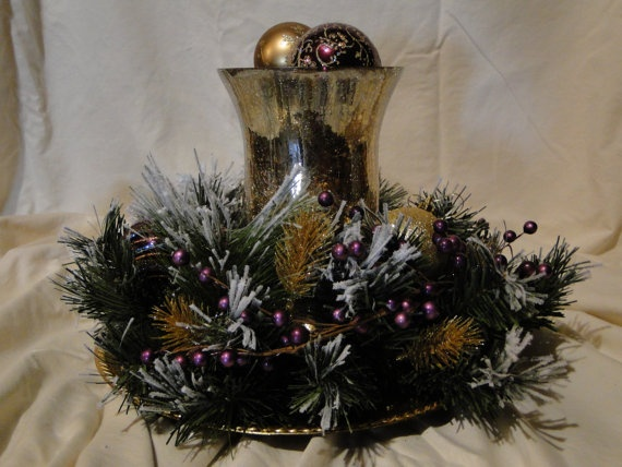 Christams Centerpiece Gold Glass Candle Holder by LilaEveCrafts, $45.00