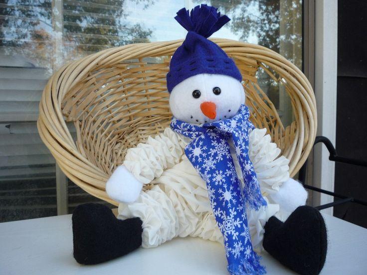 Yo Yo Snowman Gift Fabric Quilt Doll Christmas Holiday