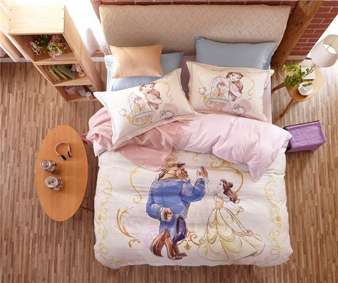 Beauty and the Beast Disney Cartoon 3D Printed Bedding Set for Girls Bedroom Decor Cotton Bedspread Duvet Cover Single Twin Pink-in Bedding Sets from Home & Garden on Aliexpress.com | Alibaba Group