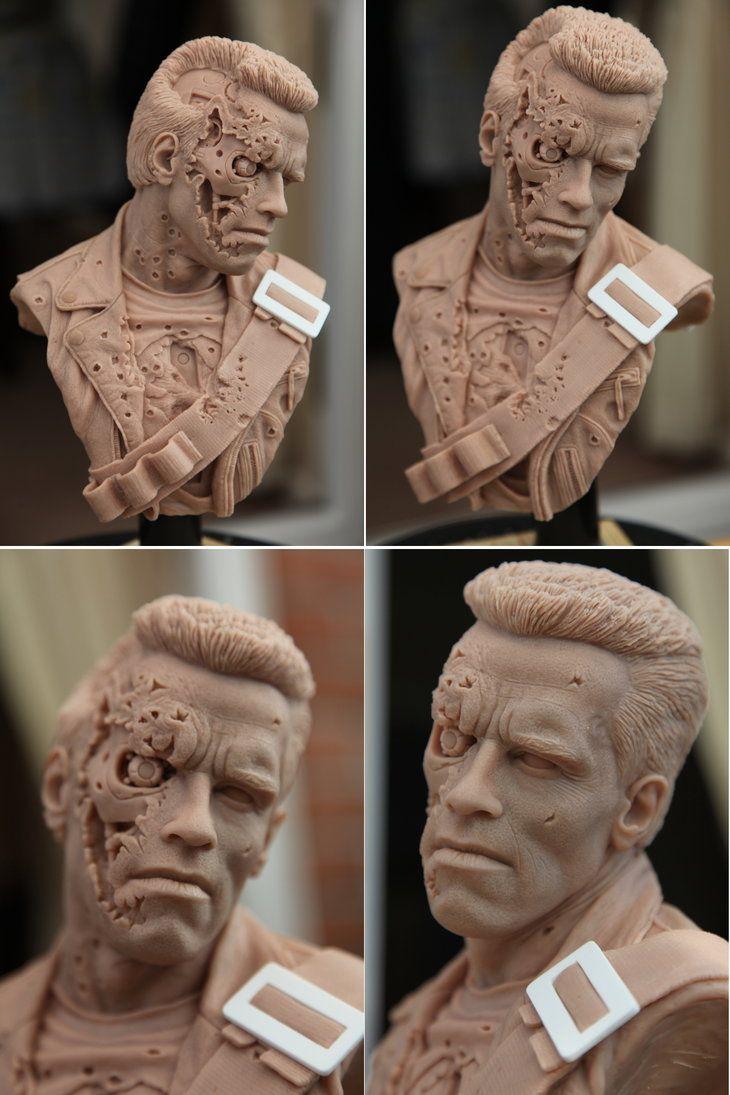 Terminator 2 1/3 scale bust sculpted in super sculpey
