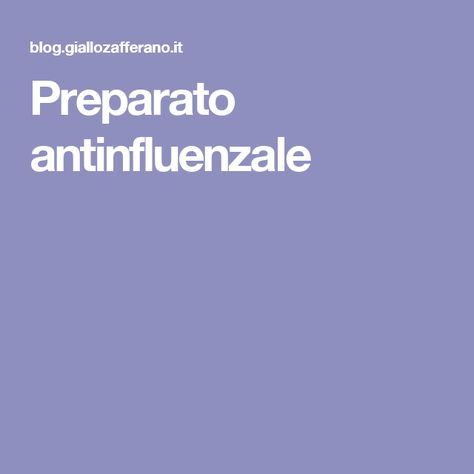 Preparato antinfluenzale