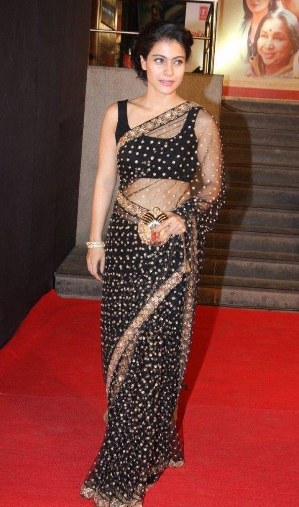 Kajol gorgeous in sheer black #Saree with butti work in gold