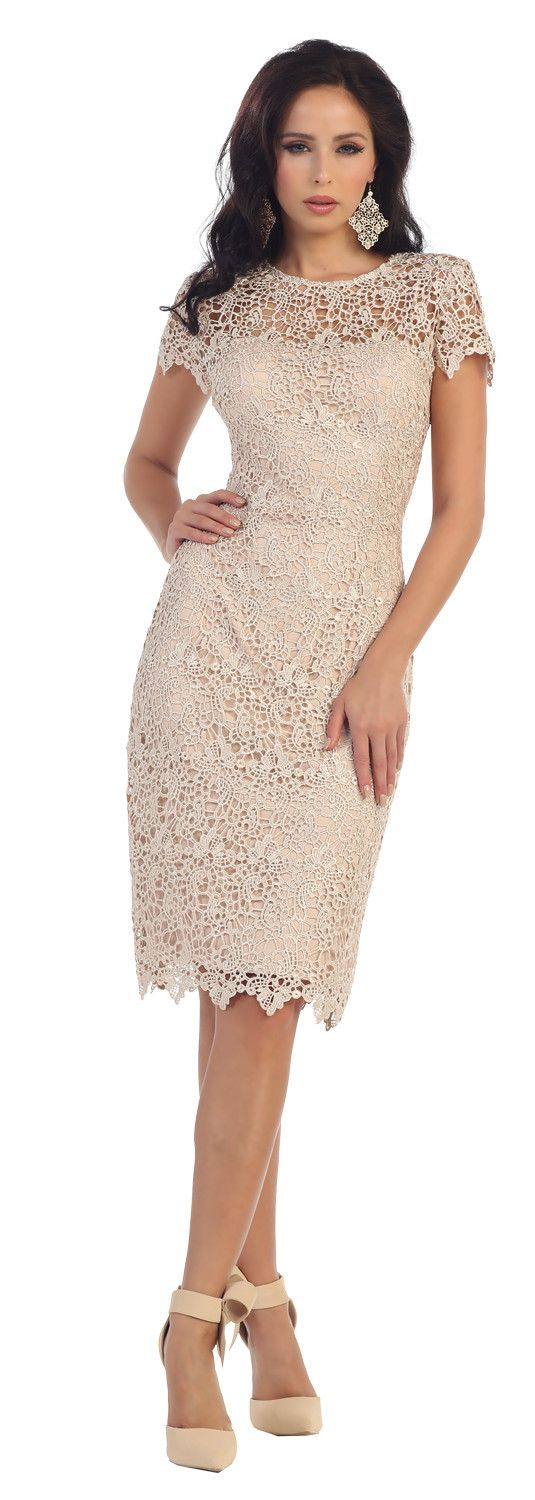 This simple mother of the bride dress features cap sleeve, knee length and lace material. This dress is great for wedding, cocktail event, evening party and other special occasion. Fabric : Lace Closu