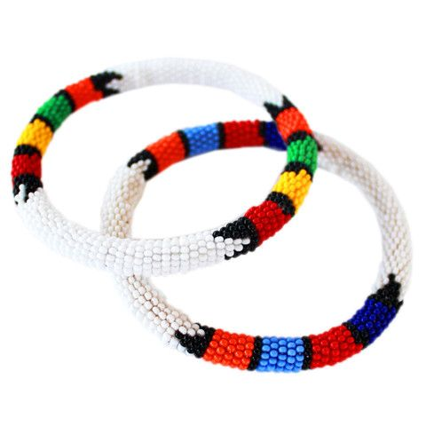 Narrow Zulu Beaded Bangle set
