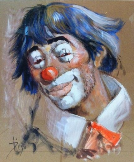 #DiegoVoci™ loved his #clowns. Many sad (triste in french) but some with a smile! Bob B. bought this blue-haired clown on brown paper in the 70's while stationed in #Germany. He has moved with it many times!