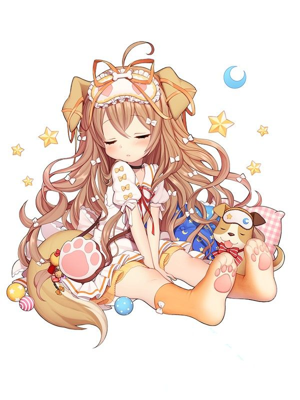 ✮ ANIME ART ✮ puppy girl. . .dog girl. . .dog ears. . .paw print. . .knee socks. . .sleepy. . .sleeping masks. . .dress. . .ribbons. . .long hair. .. moon. . .stars. . .pillows. . .moe. . .cute. . .kawaii