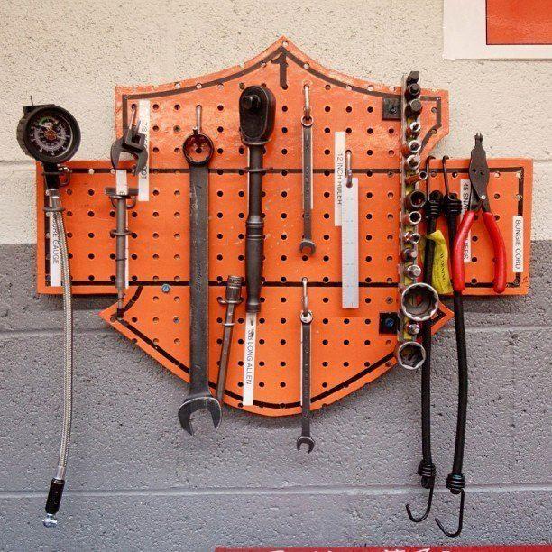 Harley-Davidson tool storage idea
